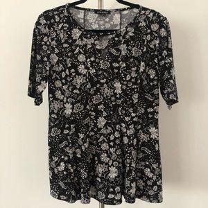 Roz & Ali Blk/White Floral Tunic/Blouse